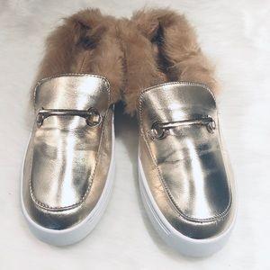 Metallic Gold Slip On Sneakers Sz 9
